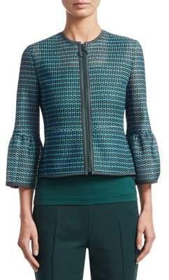 Akris Punto Mesh Bell-Sleeve Zip-Front Jacket