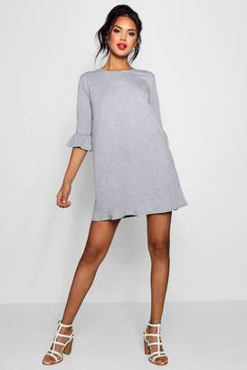 boohoo Round Neck Frill Sleeve Swing Dress