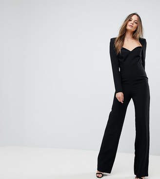 Asos Tall Tailored Sweetheart Neck Jumpsuit With Shoulder Pads