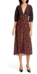 N°21 N21 N?21 Candy Apple Print Silk Midi Dress