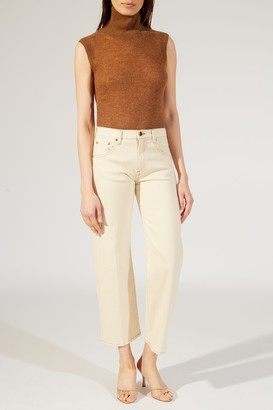 KHAITE The Wendell Jean in Ivory with Topstitching