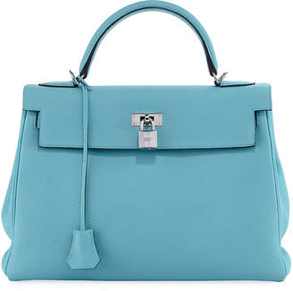 Hermes Kelly 32 Leather Top Handle Bag, Blue