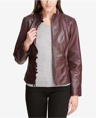 DKNY Ruffled Leather Moto Jacket