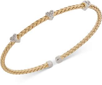 Giani Bernini Heart Cz Weave Bangle Stack Bracelet in Sterling Silver, 18K Gold-Plated or Rose Gold-Plated Sterling Silver, Created for Macy's
