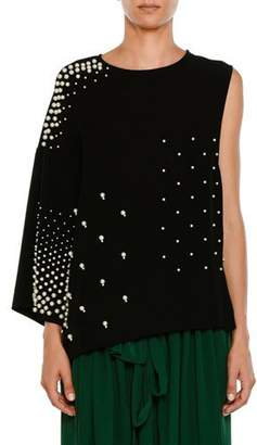 Stella McCartney Crewneck Sleeveless Paneled Tunic Top w/ Pearlescent Trim