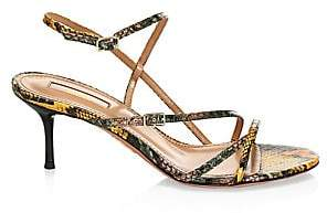 Aquazzura Women's Carolyne Snakeskin Strappy Sandals