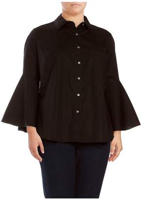Vince Camuto Women's Trumpet Bell Sleeve Button-Down Shirt - Rich Black, Size 1x (14-16)
