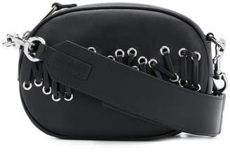 Moschino lace through logo shoulder bag