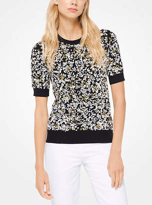 Michael Kors Floral-Embroidered Cashmere Pullover