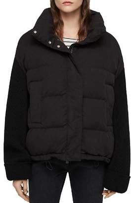 AllSaints Ines Knit-Sleeve Puffer Coat