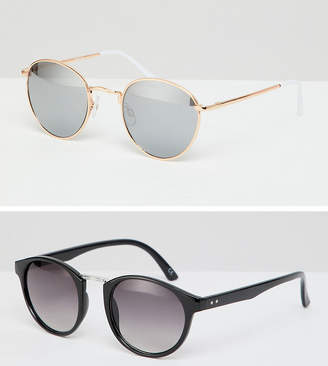 Asos DESIGN round sunglasses 2pk in black with smoke lens & rose gold metal with silver flash lens SAVE