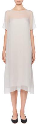 The Row Rory Short-Sleeve Silk-Chiffon Illusion Dress