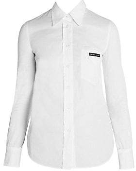 Prada Women's Back Cutout Cotton Button-Down Shirt
