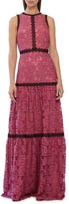 ML Monique Lhuillier Sleeveless High-Neck Scroll Embroidered Gown with Lace Trim