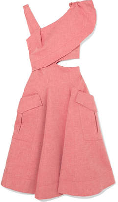 Carven Asymmetric Cutout Cotton-blend Chambray Midi Dress - Pink
