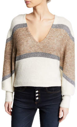 Veronica Beard Miley Colorblock Metallic Pullover Sweater