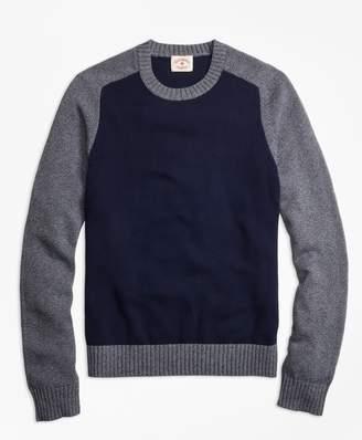 Brooks Brothers Marled Color-Block Crewneck Sweater