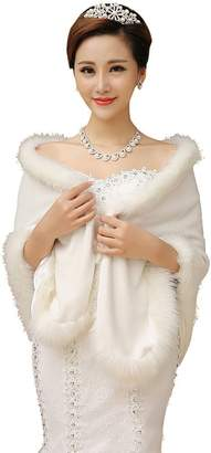 Drasawee Women's Faux Fur Wrap Cape Shawl for Formal Wedding Bridal Dresses 1Pc
