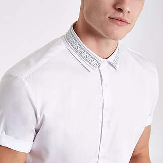 River Island White embroidered collar short sleeve shirt