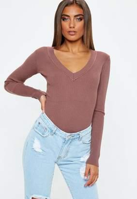Missguided Petite Mocha Ultimate Plunge Knit Bodysuit