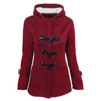 c89913acc763 Seamido Womens Duffle Toggle Coat Long Wool Blended Hooded Peacoat Jacket  with Pockets