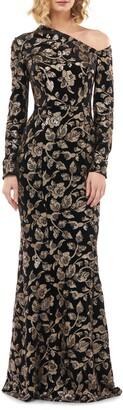 Kay Unger Francesca One-Shoulder Velvet Evening Gown