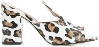 Paris Texas leopard heel mules