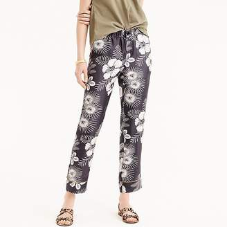 J.Crew Tall pull-on easy pant in floral-printed silk twill