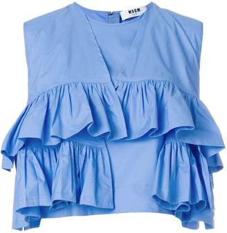 MSGM layered ruffle cropped blouse