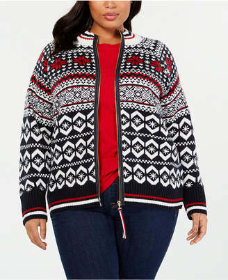 Tommy Hilfiger Plus Size Fair Isle Zipper Sweater