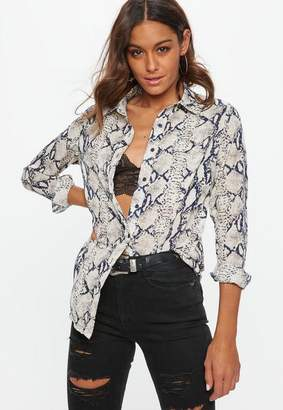 Missguided Cream Snake Print Chiffon Shirt