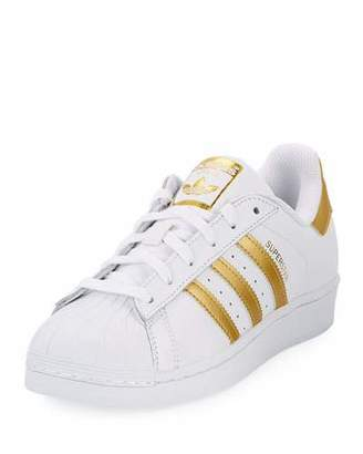 Adidas Superstar Original Fashion Sneaker, White/Gold $80 thestylecure.com