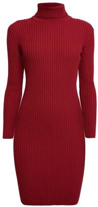 Rumour London Claudia Red Ribbed Turtleneck Dress