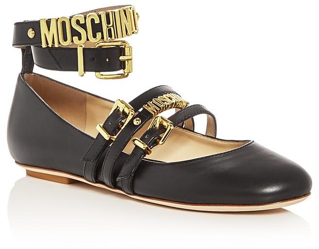 MoschinoMoschino Wraparound Ankle Strap Ballet Flats