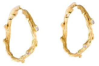 Michael Aram 18K Diamond Enchanted Forest Twig Hoop Earrings