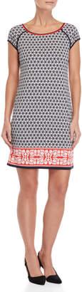 Max Studio Printed Short Sleeve Shift Dress