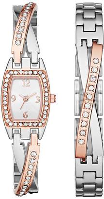 FASHION WATCHES Womens Crystal Criss-Cross Glitz Watch and Bracelet Set