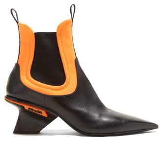 Prada Leather Neoprene Insert Point Toe Chelsea Boots - Womens - Black Orange