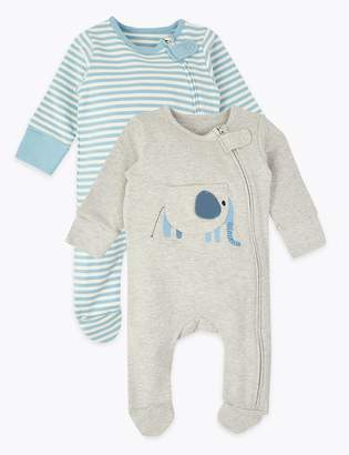 Marks and Spencer 2 Pack Striped & Elephant Print Sleepsuits