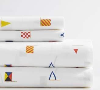 Pottery Barn Flag Print Organic Sheet Set