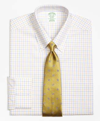 Brooks Brothers Milano Slim-Fit Dress Shirt, Non-Iron Hairline Framed Check