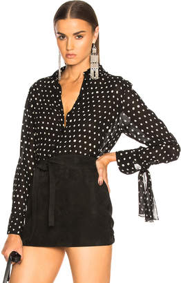 Saint Laurent Classic Crepe Viscose Polka Dot Shirt