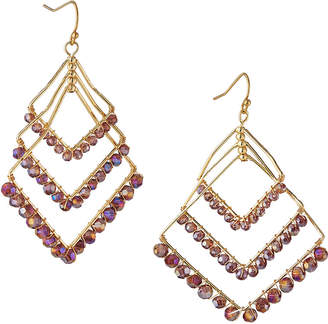 Panacea Crystal Layered Diamond-Shaped Earrings, Purple