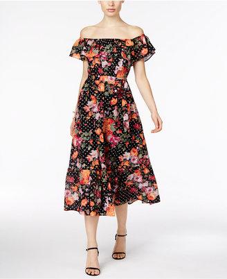 Grace Elements Cotton Off-The-Shoulder Midi Dress $90 thestylecure.com