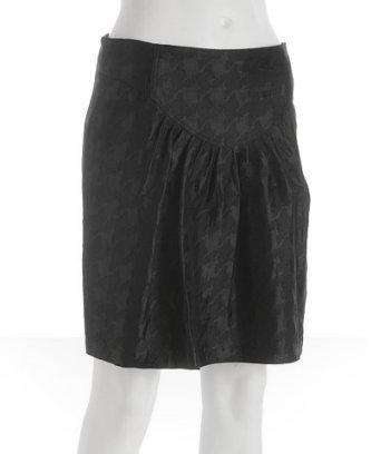 ADAM black houndstooth jacquard bib front skirt