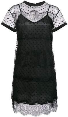 Twin-Set sheer ruffle shift mini dress