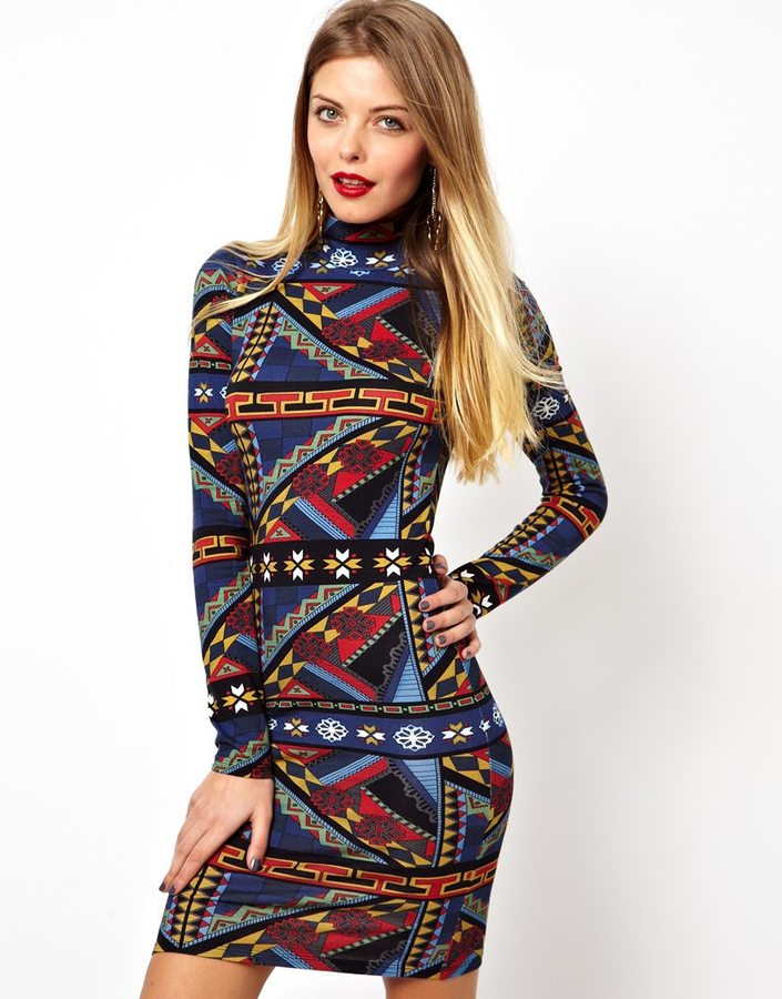 Asos Mini Body-Conscious Dress In Geo-Tribal Print With Polo Neck - Multi