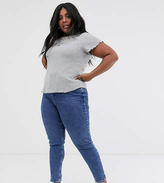 Asos DESIGN Curve fitted t-shirt in waffle with cap sleeve