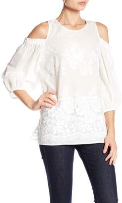 Karen Kane Embroidered Cold Shoulder Top