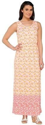 Liz Claiborne New York Petite Geo Border Print Maxi Dress